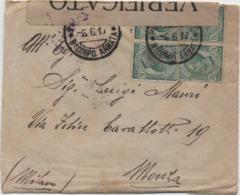 Leoni Cent. 5 Quartina Su Busta Verificato Per Censura Annulli IX° Corpo D'Armata 6.6.17 E Monza (Milano) 08.06.1917 - Posta Militare (PM)