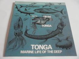 Miniature Sheet Marine Life Of The Deep Angler Fish Sticker Stamp - Tonga (1970-...)