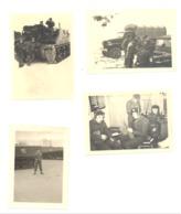Lot De 4 Photos ( 6 X 9 Cm ) Armée Belge, Matériel, Obusier De 105, GMC, Poste Radio,... (b251) - Guerre, Militaire