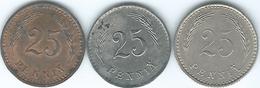 Finland - 25 Penniä - 1927 (KM25) 1943 (KM25a) & 1943 Iron Coin (KM25b) - Finland