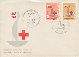 Enveloppe   FDC   1er   Jour   YOUGOSLAVIE    Centenaire  De   La   CROIX  ROUGE   1963 - FDC