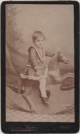 Fotografia Su Cartoncino Cm. 6,5 X 10,5 Con Bambino Su Cavallo A Dondolo. Fotografia Licene E Fagher Venezia - Persone Anonimi