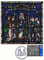 Great Britain 1971 Christmas Canterbury Cathedral Set Of 3 Maximum Cards With Special Postmark - Maximum Cards