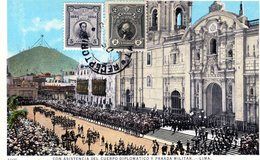 PERU LIMA GRAN TE DEUM EN LA CATEDRALPARADA MILITAR POSTED 1926  STAMPS (15) - Peru
