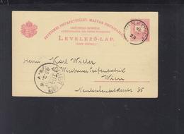 Hungary Croatia Stationery Vinkovci 1896 To Viena - Croatia