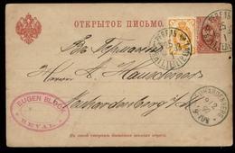 S7945 - Estland Russland GS Postkarte: Gebraucht Reval Tallinn - Neuhardenberg 1892 , Bedarfserhaltung. - Estland