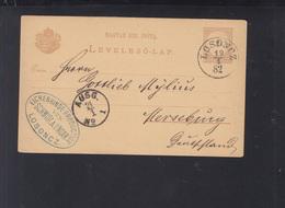 Hungary Slovakia Stationery Losoncz Lučenec 1882 To Germany - Slovakia