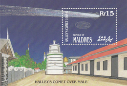1986 Maldives Space Halley's Comet Astronomy OVERPRINT Complete Set Of 1 Souvenir Sheet  MNH - Maldive (1965-...)
