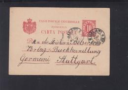 Romania Stationery 1901 Galati To Stuttgart - Ganzsachen