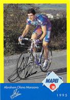 CARTE CYCLISME ABRAHAM OLANO SIGNEE TEAM MAPEI 1995 - Ciclismo