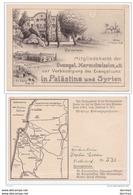 Israel Palestine Haifa German Evangelist Church And Galilea Map Membership Card #531 Deutschland Germany Levant - Palestine