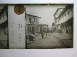 """GRECE - Macédoine - GOUMENISSA ( Gumentzé ) - """" Une Rue """" - Animation  Rare Plaque De Verre Stéréoscopique  - 1917 - TBE - Glass Slides"""