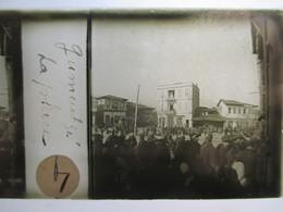 """GRECE - Macédoine - GOUMENISSA ( Gumentzé ) - """" La Place """" - Rare Plaque De Verre Stéréoscopique  - 1917 - TBE - Glass Slides"""
