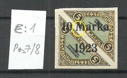 ESTLAND ESTONIA 1923 Michel 43 E: 1 ERROR Abart * Signed - Estland