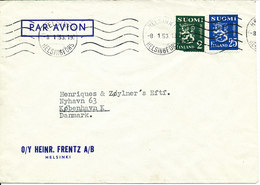 Finland Air Mail Cover Sent To Denmark Helsinki 8-1-1953 (one Of The Stamps Damaged) - Airmail