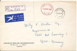 Leshoto Registered Cover Sent POSTAGE PAID To Germany Maseru 16-11-1967 - Lesotho (1966-...)