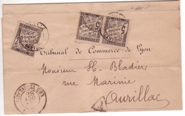 Pli Non Affranchi LYON > Cantal 1888 TAXE Rare Composition 20c (défaut D'origine Cf. Scan) + Paire 5c Banderole Duval - Taxes