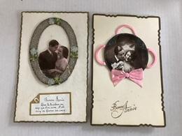 2 Cartes Bonne Année Avec Rubans Couple Et Decoupis - Nouvel An