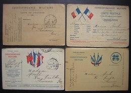 Cartes En Franchise Militaire, Lot De 4 Cartes Dont 3 Avec Drapeaux De La Première Guerre Mondiale (WW1), Voir Photos - Poststempel (Briefe)