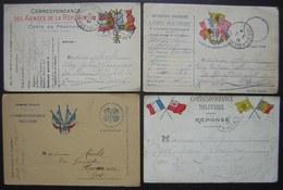 Cartes En Franchise Militaire, Lot De 4 Cartes Avec Drapeaux De La Première Guerre Mondiale (WW1), Voir Photos - Poststempel (Briefe)