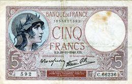 BILLET DE 5 FRANCS Violet Type 1917 Le 28-11-1940 En TTB - - 1871-1952 Antiguos Francos Circulantes En El XX Siglo