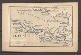 CARTE TOPOGRAPHIQUE 1923 ILE DE RE ARS EN RE CHARENTE (17) LA COUARDE Pte DU GROUIN DU COU - Topographical Maps
