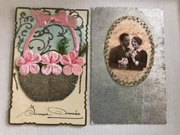2 Cartes Bonne Année 1936 1938 Decoupis Couple Noeud - Nouvel An