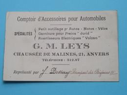 G. M. LEYS Chaussée De Malines 21 - ANVERS Tél 312.87 ( Accessoires Pour Automobiles ) ! - Cartes De Visite