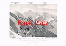 761 Ernst Platz Bergsteiger Gletscher Kaukasus Kunstblatt 1912!! - Estampes