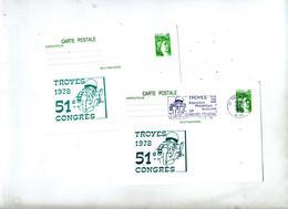 Carte Postale 0.80 Sabine Flamme Troyes Congres Illustré - Entiers Postaux
