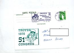 Carte Postale 0.80 Sabine Flamme Troyes Congres + Le Havre Port Car Ferries - Entiers Postaux