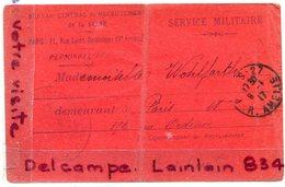 - Militaria - Carte Convocation  Au Service Militaire, Jeune Fille De Paris, En 1917, Bureau De Paris, 18 Me BE,  Scans. - Documents