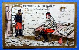 CHROMO DORÉE HUMORISTIQUE....    CHOCOLAT INIMITABLE....ARMÉE ...CACHOT...SOURIS ...A LA BOITE !!! - Chocolate