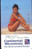 Télécarte Japon * EROTIQUE  (6338) * EROTIC * AIRLINES CONTINENTAL MICRONESIA PHONECARD JAPAN * BATHCLOTHES - Mode