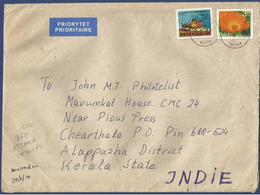 POLAND 2014  POSTAL USED AIRMAIL COVER TO INDIA - Airmail