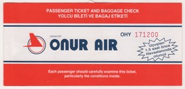 ONUR AIR  AIRLINES PASSENGER TICKET - Plane