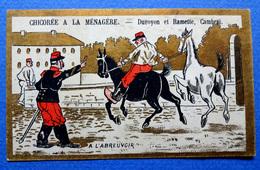 CHROMO DORÉE HUMORISTIQUE....    CHOCOLAT INIMITABLE....ARMÉE ..CHEVAUX A L'ABREUVOIR - Chocolate