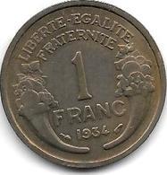France  1 Franc  1934 Km 885   Vf+ - Francia