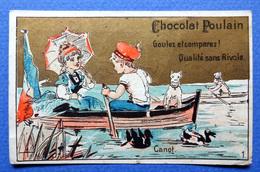 CHROMO DORÉE ...    CHOCOLAT POULAIN...ENFANTS ...CANOT...ETANG....PARASOL - Poulain