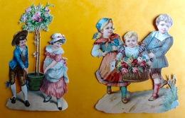 Chromo Decoupis Gaufré Circa 1890 Enfant Fillette Garçon Rosier Fleurs  9cm - Children