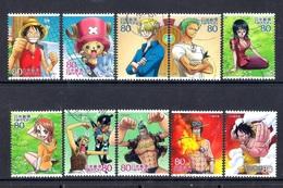Japan 2011 - Animation Hero And Heroine - Series 15 - One Piece 1,5 Million Issued - 1989-... Emperador Akihito (Era Heisei)