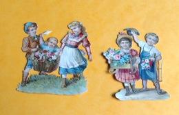 Chromo Decoupis Gaufré Circa 1890 Enfant Fillette Garçon Panier  Fleurs 7,5cm - Children