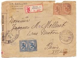 Devant De Lettre Recommandée Pour Paris Avec Censure - Briefe U. Dokumente