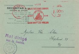 128/29 - Carte Privée Empreint Mécanique Assurance Securitas ANVERS 1947 En Ville - MAL DIRIGE Sur La Suède - MALMO - Machine Stamps (ATM)