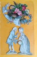 Chromo Decoupis Gaufré Circa 1890 Personnages Perruque Fleurs 7,5 Cm Et 9 Cm - Children