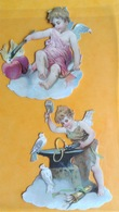 Chromo Decoupis Gaufré Circa 1890 Angelot Ange Forgeron Coeur  7,5 Cm - Angels