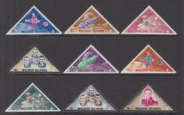 1968 Maldives Space Satellites Astronauts Complete Set Of 9 MNH - Malediven (1965-...)