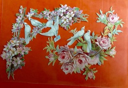 Superbe Chromo Decoupis Gaufré Circa 1890  Fleurs Colombes En Angle 10 Cm - Flowers