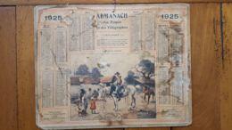 CALENDRIER ALMANACH DES POSTES 1925 DEPARTEMENT DE LA LOZERE - Calendriers