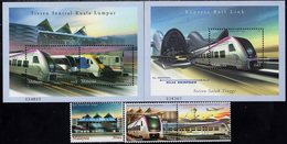 Malaysia - 2002 - Express Rail Link - Mint Stamp Set + 2 Souvenir Sheets - Malaysia (1964-...)
